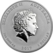 Australia 1 Dollar Year of the Rooster 2017 P MS-BU ELIZABETH II AUSTRALIA 1OZ 9999 AG 2017 1 DOLLAR IRB coin obverse