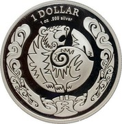 Australia 1 Dollar Year of the Tiger 2010 1 DOLLAR 1 OZ .999 SILVER coin reverse