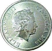 Australia $1 Great Barrier Reef 2010 KM# 1384a ELIZABETH II AUSTRALIA 2010 coin obverse