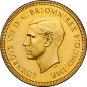 UK 1 Sovereign Edward VIII (Pattern) 1937 Proof KM# Pn132 EDWARDVS VIII D: G: BR: OMN: REX F: D: IND: IMP. coin obverse