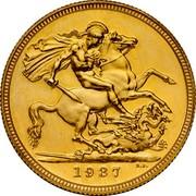 UK 1 Sovereign Edward VIII (Pattern) 1937 Proof KM# Pn132 1937 B.P. coin reverse