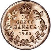 Canada 10 Cents George V 1936 Dot Dot on reverse. Specimen KM# 23a 10 CENTS CANADA coin reverse