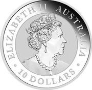 Australia 10 Dollars Australian Kookaburra 2019 P UNC ELIZABETH II AUSTRALIA JC 10 DOLLARS coin obverse
