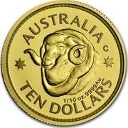 Australia 10 Dollars Ram's Head 2011 Proof AUSTRALIA TEN DOLLARS 1/10 OZ. 9999 AU coin reverse