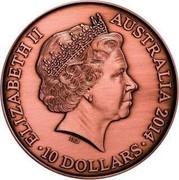 Australia 10 Dollars Victoria Cross for Australia 2014 KM# 2175 ELIZABETH II AUSTRALIA 10 DOLLARS IRB coin obverse