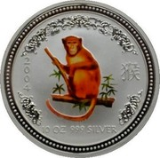 Australia 10 Dollars Year of the Monkey - Colored 2004 MS-BU 2004 10 OZ 999 SILVER coin reverse