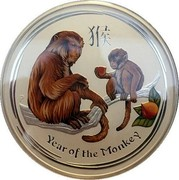 Australia 10 Dollars Year of the Monkey Coloured 2016 YEAR OF THE MONKEY P IJ coin reverse