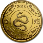 Australia 10 Dollars Year of the Snake 2013 YEAR OF THE SNAKE P coin reverse