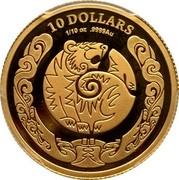 Australia 10 Dollars Year of the Tiger 2010 10 DOLLARS 1/10 OZ .9999 AU coin reverse