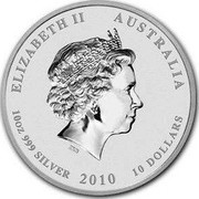 Australia 10 Dollars Year of the Tiger. Coloured 2010 P Proof ELIZABETH II AUSTRALIA 10 OZ 999 SILVER 2010 10 DOLLARS IRB coin obverse