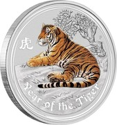 Australia 10 Dollars Year of the Tiger. Coloured 2010 P Proof YEAR OF THE TIGER coin reverse