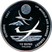 Finland 10 Euro 1st World Air Games 1997 Proof 1ST WORLD AIR GAMES TURKEY GILDING 1997 10 EURO FINLAND coin reverse