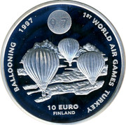 Finland 10 Euro 1st World Air Games Turkey 1997 UNC X# 46 1ST WORLD AIR GAMES TURKEY BALOONING 1997 10 EURO FINLAND coin reverse