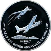 Finland 10 Euro 2nd World Air Games 1998 Proof 2ND WORLD AIR GAMES ANDALUCÍA ESPAÑA 2001 10 EURO 1998 coin reverse