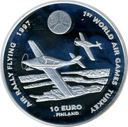 Finland 10 Euro First World Air Games 1997 Proof X# 45 1ST WORLD AIR GAMES TURKEY AIR RALLY FLYING 1997 10 EURO FINLAND coin reverse