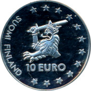 Finland 10 Euro Olavinlinna 1996 Proof X# 5 SUOMI FINLAND 10 EURO coin obverse