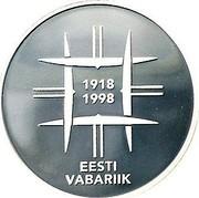 Estonia 10 Krooni Independence (1998) Proof KM# 32 1918 1998 EESTI VABARIIK coin obverse