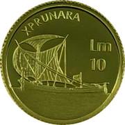 Malta 10 Liri Xprunara 2002 Prooflike KM# 119 XPRUNARA LM 10 coin reverse