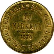 Finland 10 Markkaa Narrow eagle 1878 S KM# 8.1 2,903.. GRM. KULTAA. 0,522.. GRM. KUPARIA 10 MARKKAA DATE coin reverse