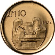 Malta 10 Pounds Kenur 1972 KM# 16 £M 10 1972 coin reverse
