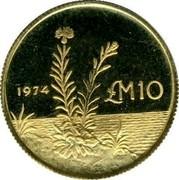 Malta 10 Pounds Maltese centaury 1974 KM# 26 LM10 1974 coin reverse