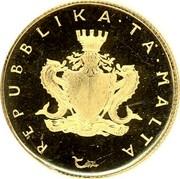 Malta 10 Pounds Maltese falcon - Old arms 1975 KM# 34 REPUBBLIKA TA' MALTA coin obverse