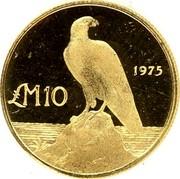 Malta 10 Pounds Maltese falcon - Old arms 1975 KM# 34 LM10 1975 coin reverse