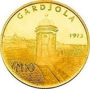 Malta 10 Pounds Watchtower (Gardjola) 1973 KM# 21 GARDJOLA 1973 LM10 coin reverse