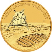 Australia 100 Dollars 50th Anniversary of the Moon Landing 2019 P Proof MOON LANDING 1969-2019 coin reverse