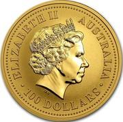 Australia 100 Dollars (Kangaroos. Tribute to Liberty) KM# 693a ELIZABETH II AUSTRALIA 100 DOLLARS coin obverse