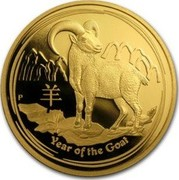 Australia 100 Dollars (Year of the Goat) YEAR OF THE GOAT P coin reverse