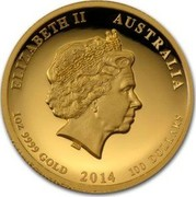 Australia 100 Dollars Year of the Horse. High Relief 2014 P Proof ELIZABETH II AUSTRALIA 1OZ 9999 GOLD 2014 100 DOLLARS coin obverse