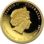 Australia 100 Dollars Year of the Monkey - High Relief 2016 P Proof ELIZABETH II AUSTRALIA 1OZ 9999 GOLD 2016 100 DOLLARS coin obverse