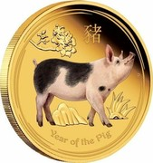 Australia 100 Dollars Year of the Pig Coloured 2019 P Proof YEAR OF THE PIG coin reverse
