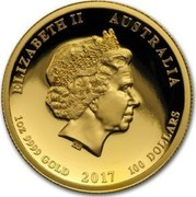 Australia 100 Dollars Year of the Rooster - High Relief 2017 P Proof ELIZABETH II AUSTALIA 1OZ 9999 GOLD 2017 100 DOLLARS IRB coin obverse