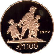 Malta 100 Pounds Les Gavroches 1977 Proof KM# 50 1977 LM100 coin reverse