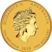 Australia 1000 Dollars Year of the Pig 2019 P Proof ELIZABETH II AUSTRALIA 10OZ 9999 GOLD 2019 1000 DOLLARS IRB coin obverse