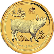 Australia 1000 Dollars Year of the Pig 2019 P Proof YEAR OF THE PIG P IJ coin reverse