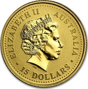 Australia 15 Dollars Gold Nugget 2003 ELIZABETH II AUSTRALIA • 15 DOLLARS • IRB coin obverse