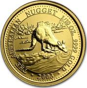 Australia 15 Dollars Gold Nugget 2003 THE AUSTRALIAN NUGGET 1/10OZ. 9999 GOLD • 2003 • coin reverse