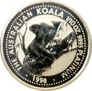 Australia 15 Dollars (The Australian Koala) THE AUSTRALIAN KOALA 1/10OZ 9995 PLATINUM • 1998 • coin reverse