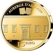 Malta 15 Euro Auberge d'Aragon 2014 Proof KM# 164 AUBERGE D'ARAGON 15 EURO coin reverse
