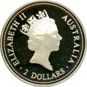Australia 2 Dollars A Kookaburras at a nest (Spade Guinea) 1996 Spade Guinea on a pure gold insert - privy mark; Proof ELIZABETH II AUSTRALIA 2 DOLLARS coin obverse