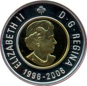 Canada 2 Dollars Polar Bear 2006 (ml) KM# 631 ELIZABETH II 1996-2006 D ∙ G ∙ REGINA coin obverse