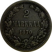 Finland 2 Markkaa Alexander II 1870 S KM# 7.1 2 MARKKAA DATE coin reverse