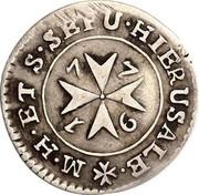 Malta 2 Tari Emmanuel de Rohan 1776 KM# 301.1 M.H.ET S.SEPU.HIERUSALE. coin reverse