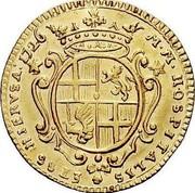 Malta 2 Zecchino Antonio Manoel de Vilhena 1726 KM# 190 M∙M∙HOSPITALIS HIERVSA:1726 coin reverse