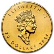Canada 20 Dollars Maple Leaf 1994 KM# 190 ELIZABETH II 20 DOLLARS coin obverse