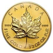Canada 20 Dollars Maple Leaf 1994 KM# 190 CANADA 9999 9999 FINE GOLD 1/2 OZ OR PUR coin reverse