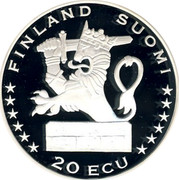Finland 20 ECU Aurora Borealis 1997 Proof X# 7 FINLAND SUOMI 20 ECU coin reverse